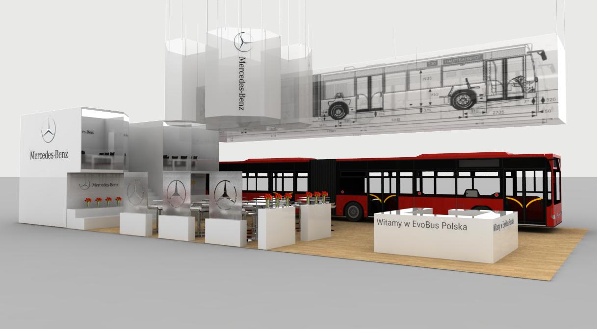 Projekt koncepcyjny stoiska targowego dla Evobus '14