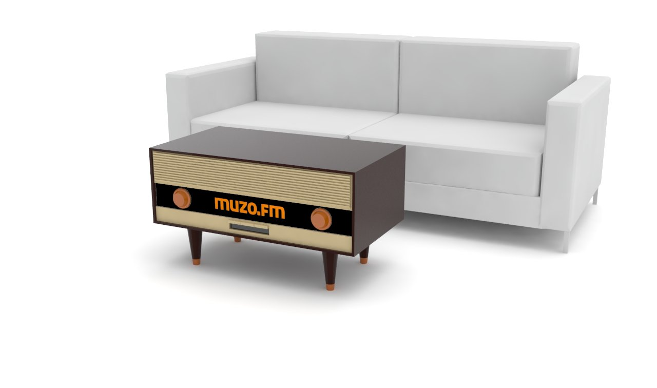 Projekt stolika kawowego stylizowanego na stare radio dla Muzo TV '14