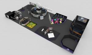 Projekt koncepcyjny stoiska na targi gier dla Ubisoft '15